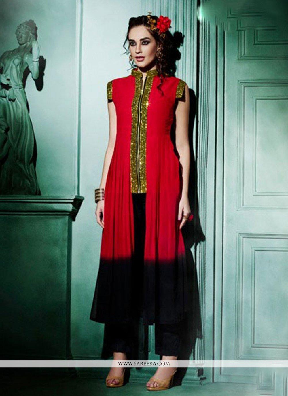 Faux Georgette Red Designer Kurti