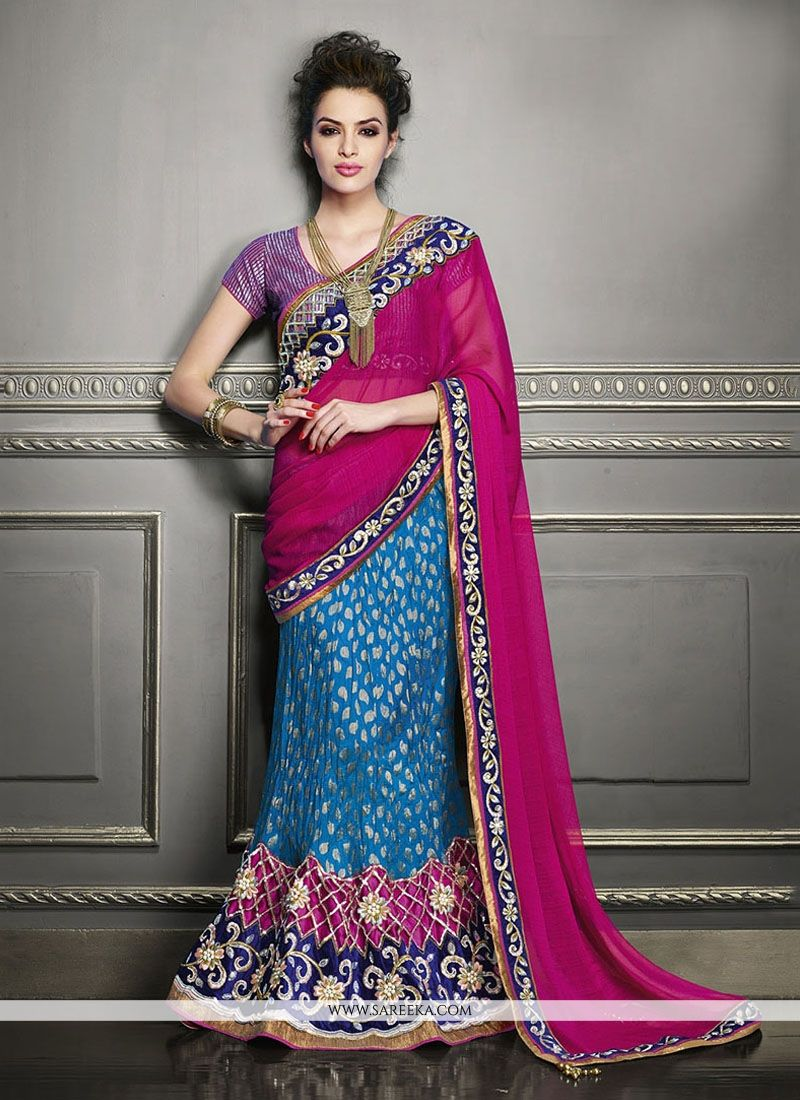 Georgette Embroidered Work Lehenga Saree