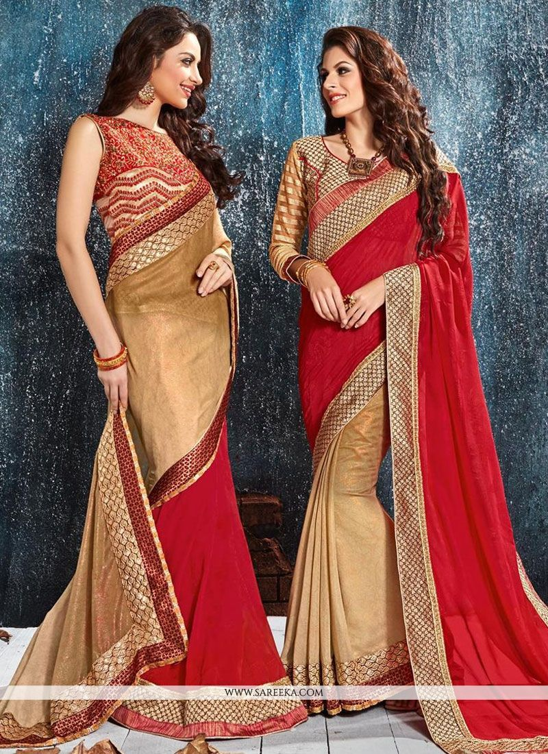 Red Patch Border Work Silk Classic Designer Saree