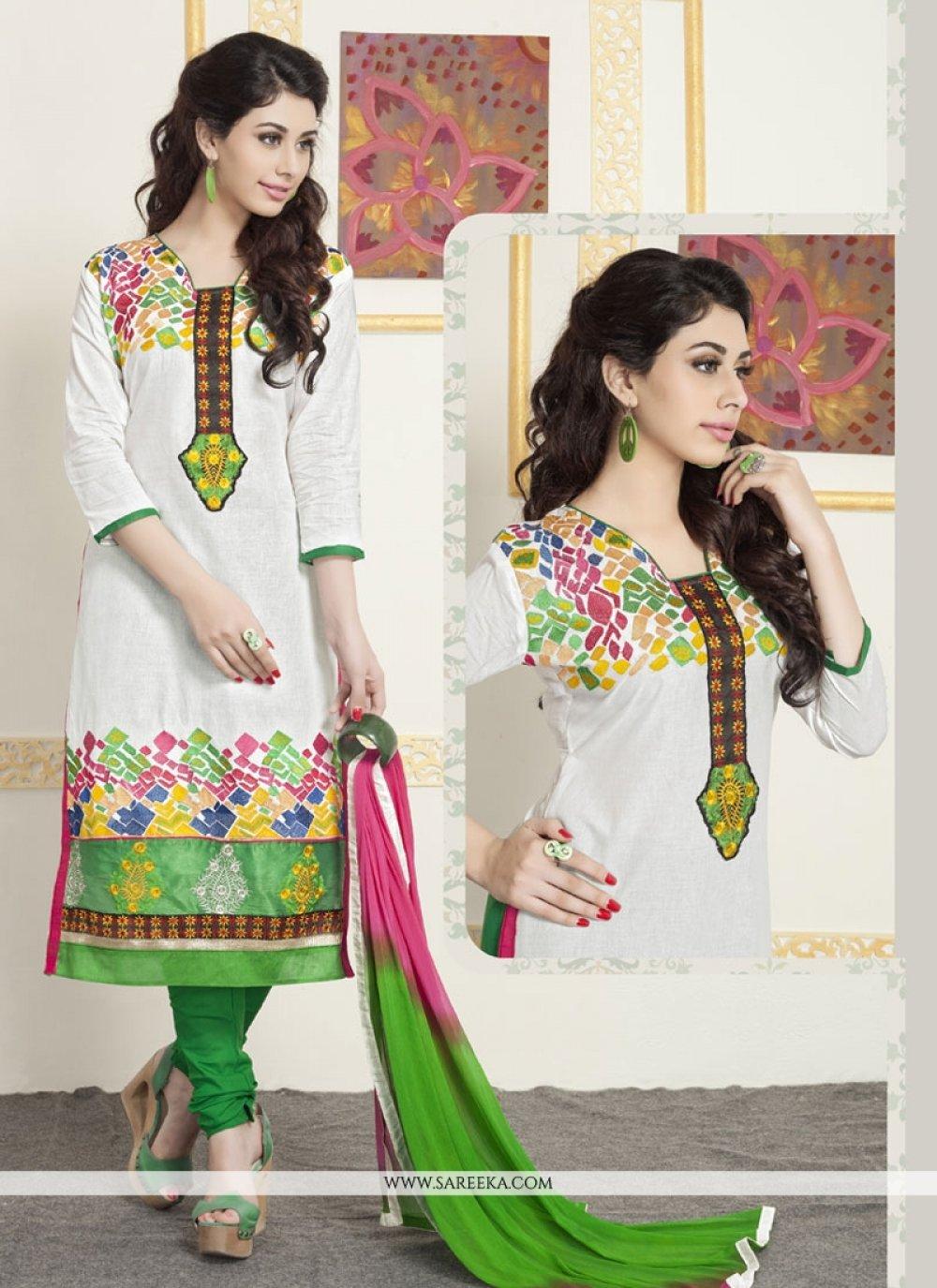 White Embroidered Work Cotton   Churidar Designer Suit