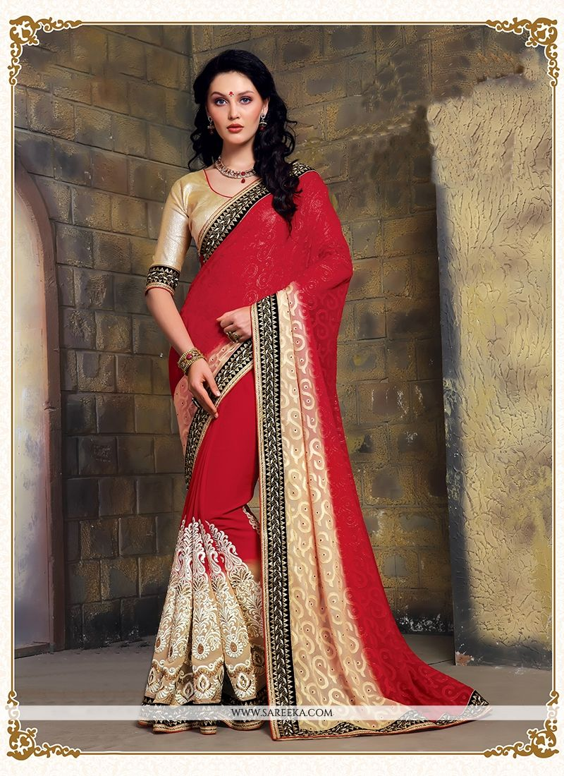 Brasso Georgette Embroidered Work Designer Saree