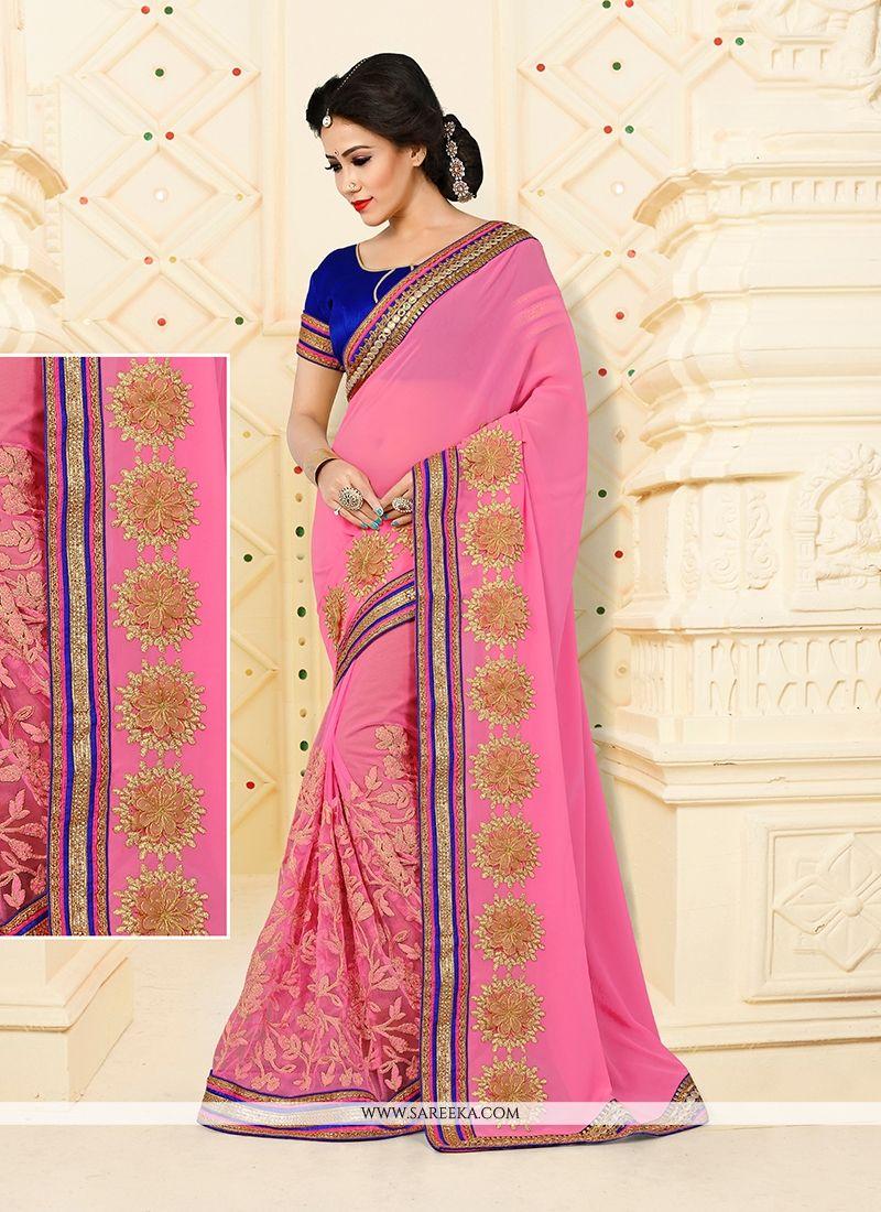 79cc681bad7d1 Buy Online Tempting Embroidered Work Net Designer Half N Half saree   45481  -