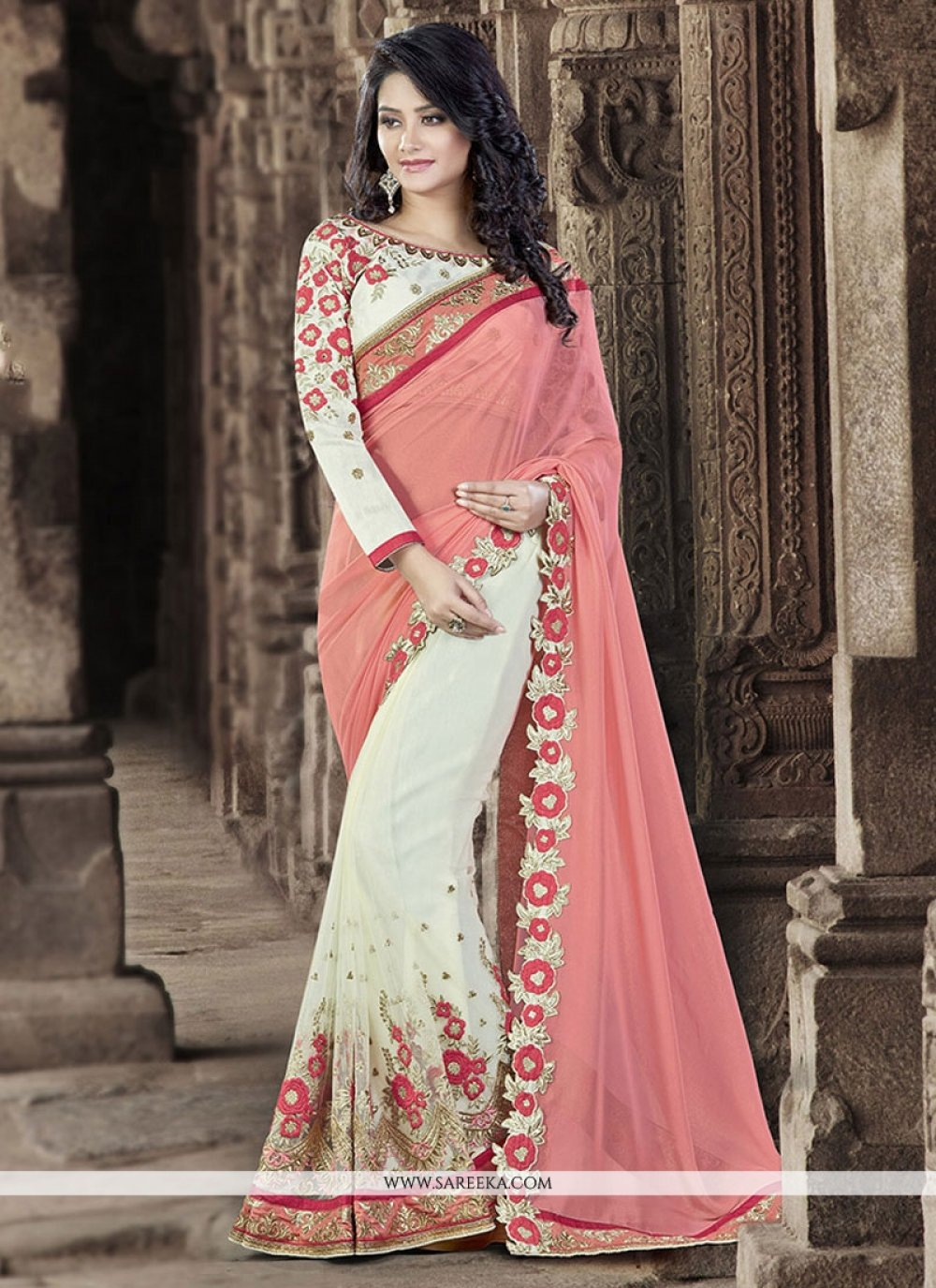 Embroidered Work Net Designer Traditional Sarees