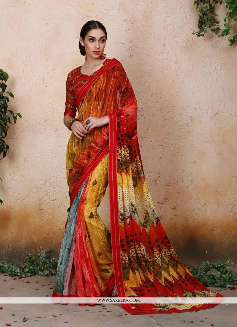 Georgette Digital Print Work Designer Saree