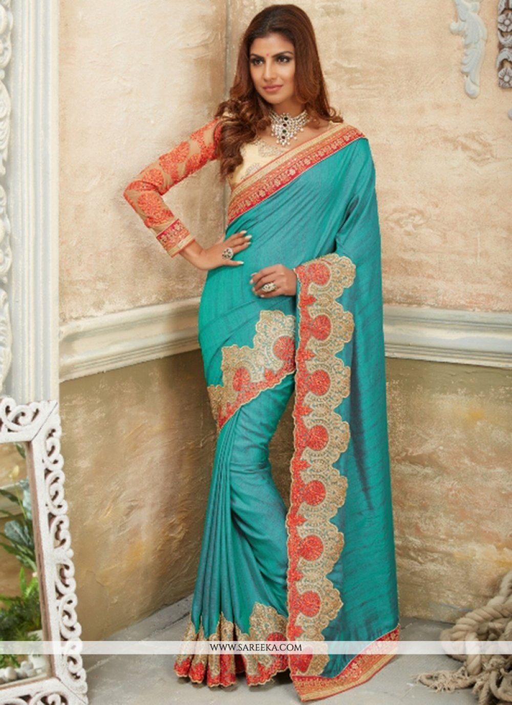Georgette Embroidered Work Designer Traditional Sarees