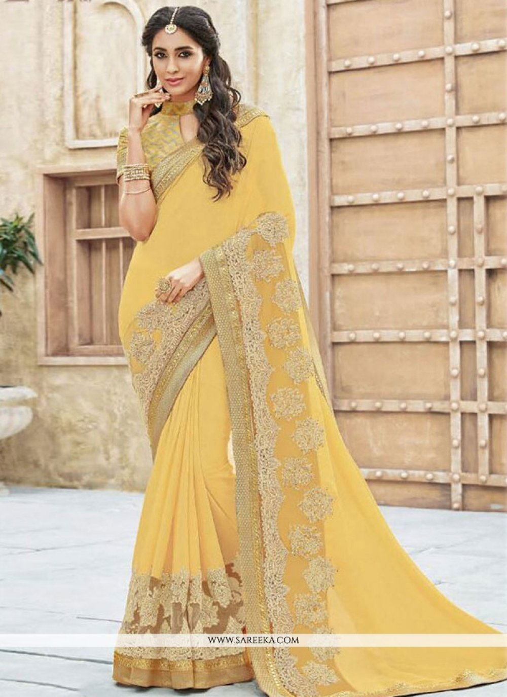 Georgette Yellow Designer Traditional Sarees