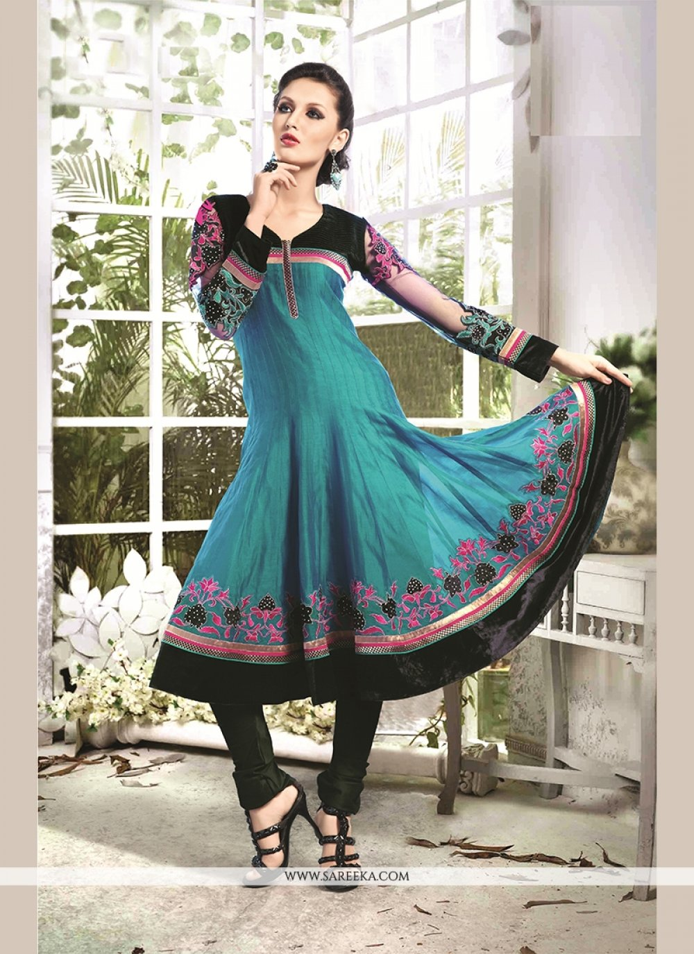 Chanderi Cotton Blue Readymade Suit