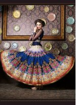 Fancy Fabric Navy Blue Patch Border Work Anarkali Salwar Kameez