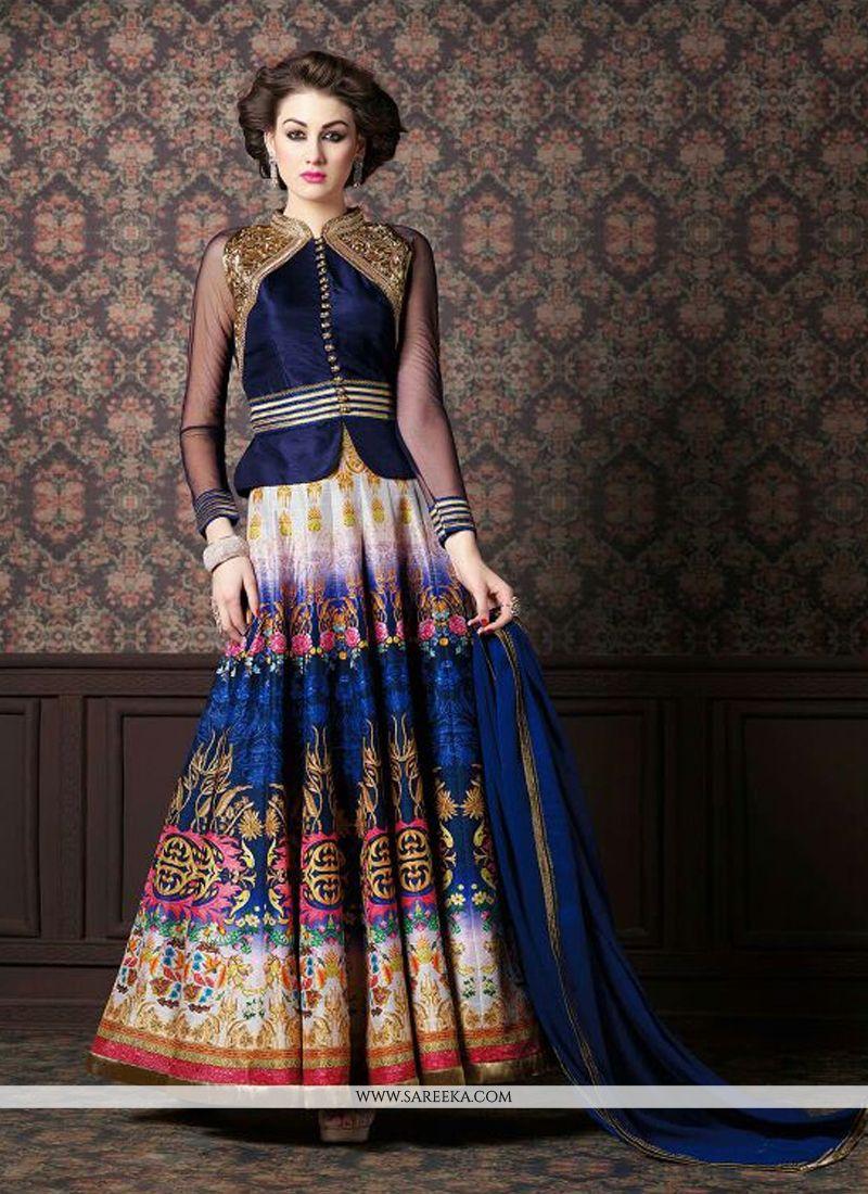 Fancy Fabric Navy Blue Patch Border Work Anarkali Salwar Kameez