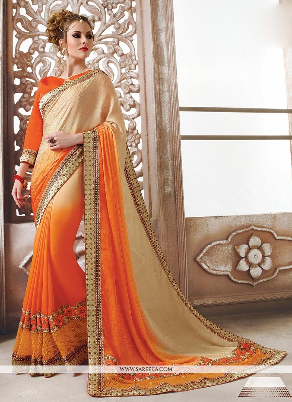 Georgette Orange Designer Saree