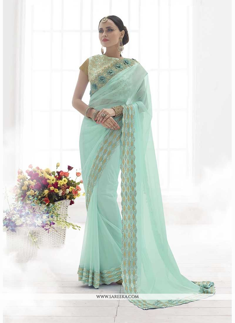 Patch Border Work Turquoise Classic Designer Saree