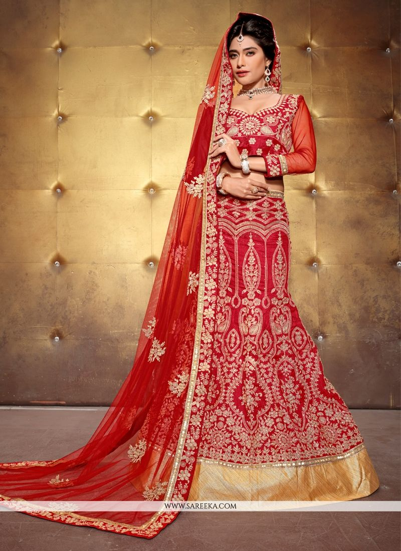 Red Patch Border Work Banglori Silk A Line Lehenga Choli