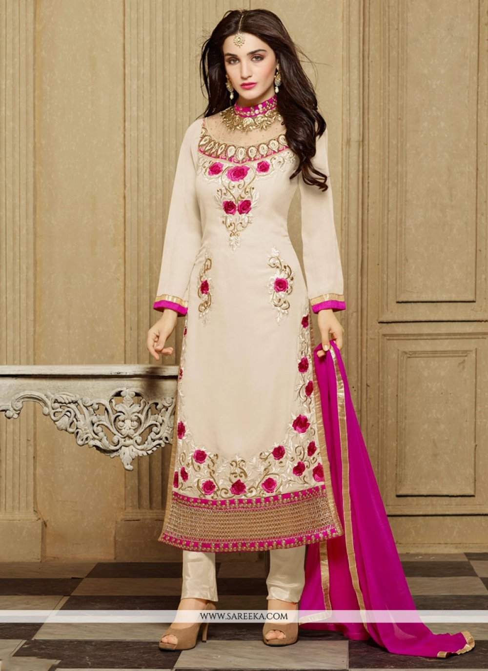 Faux Georgette Off White Designer Straight Salwar Kameez