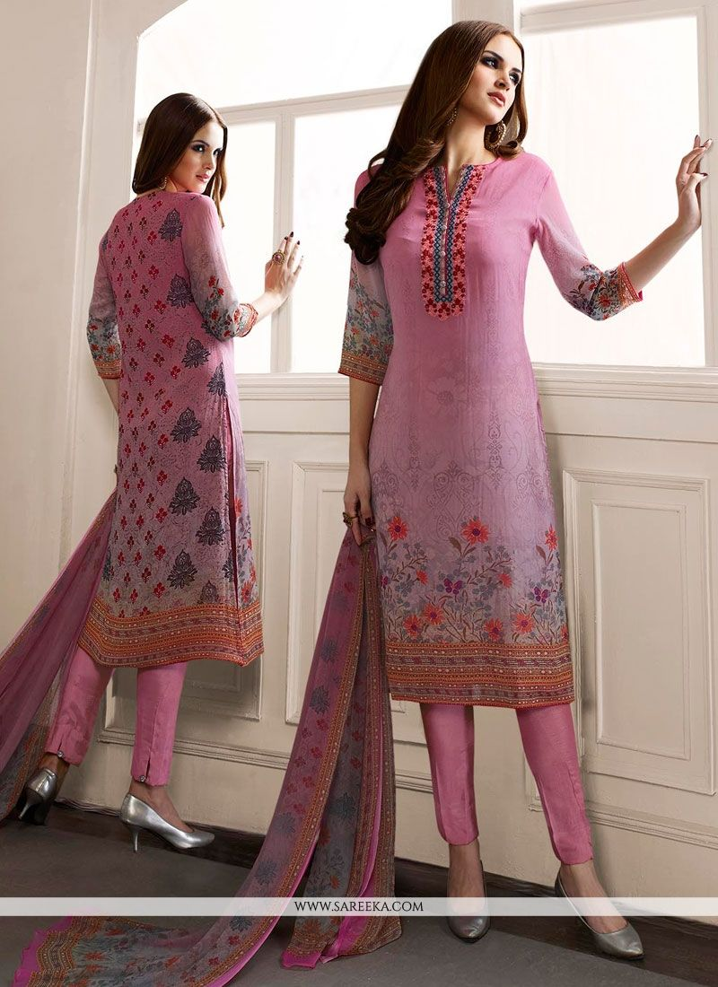 Georgette Print Work Designer Straight Salwar Kameez