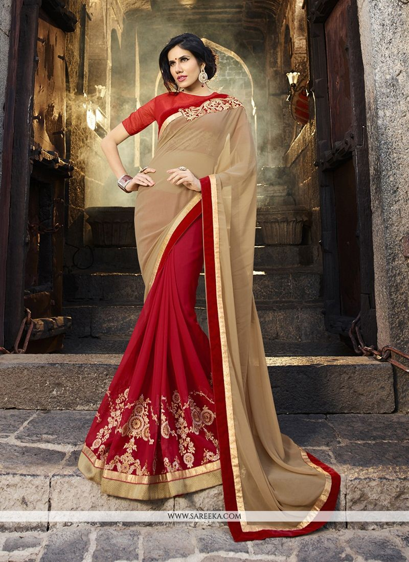 Red Georgette Designer Saree