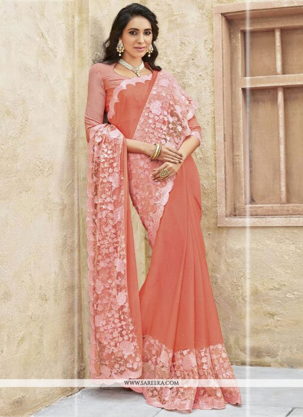 Embroidered Work Peach Designer Traditional Sarees