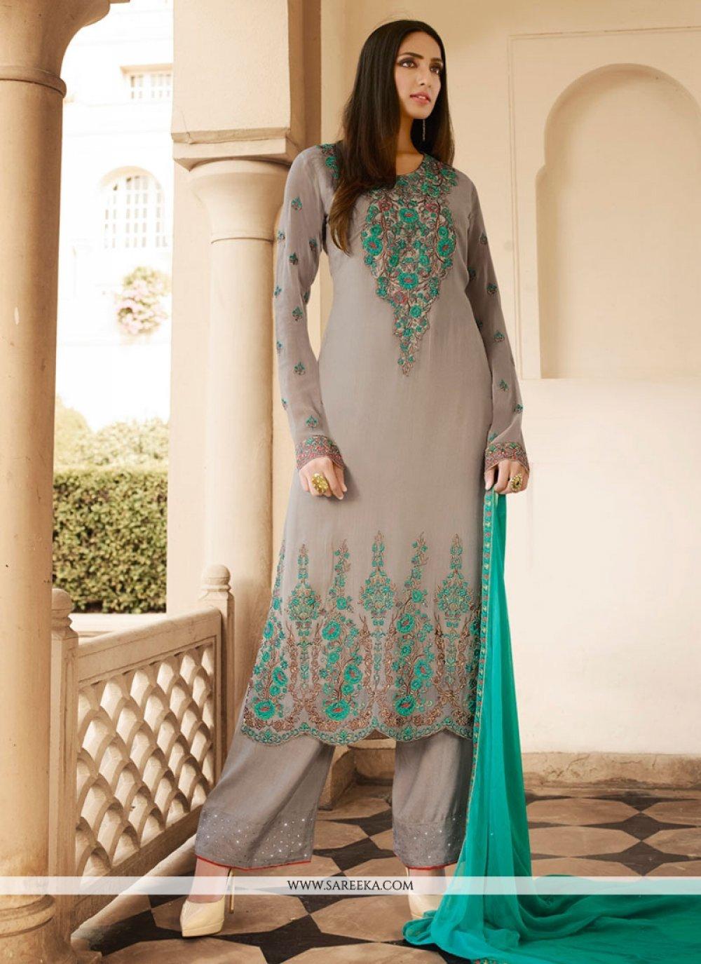 Georgette Grey Designer Pakistani Salwar Suit