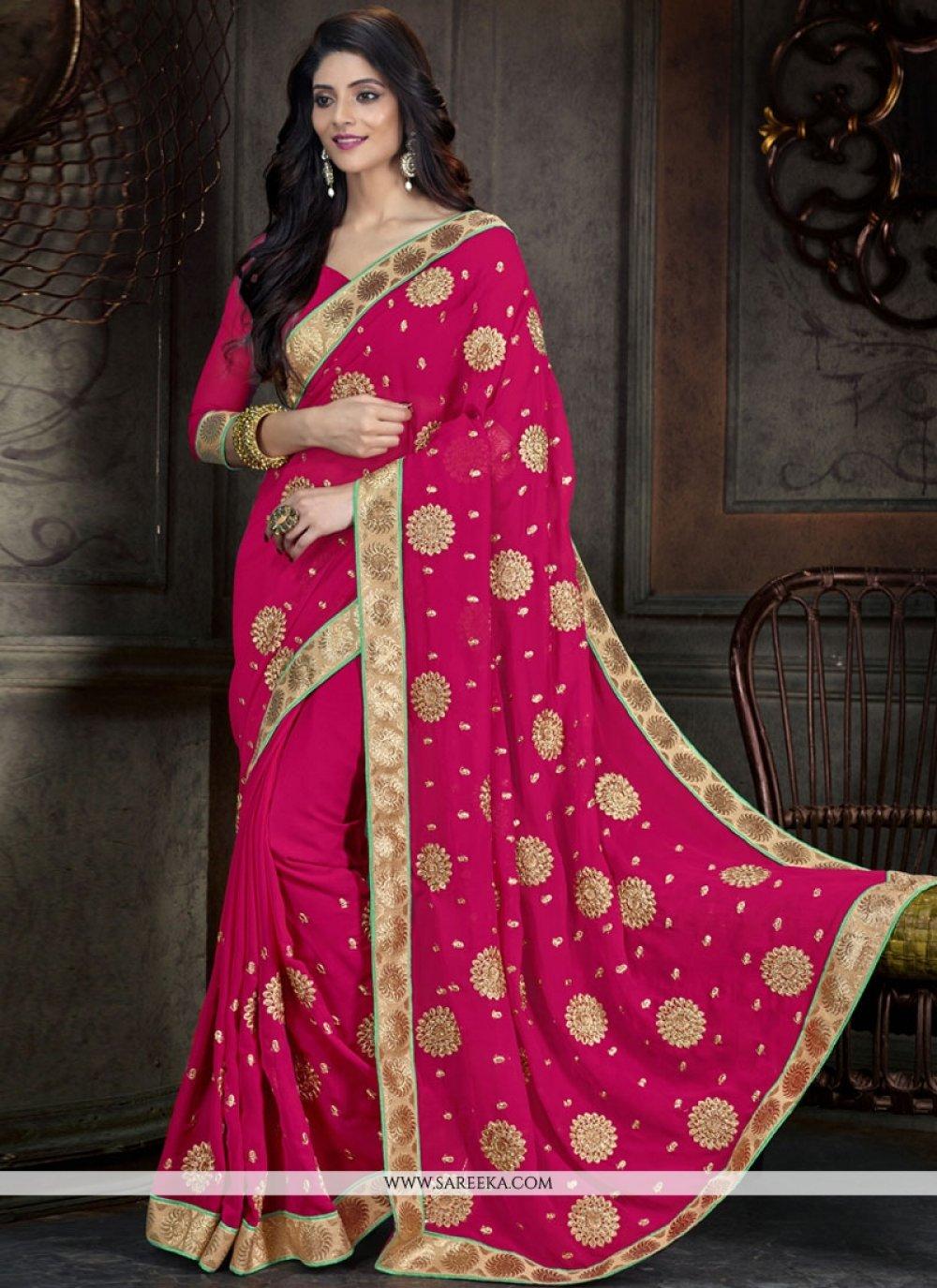 Georgette Hot Pink Designer Saree