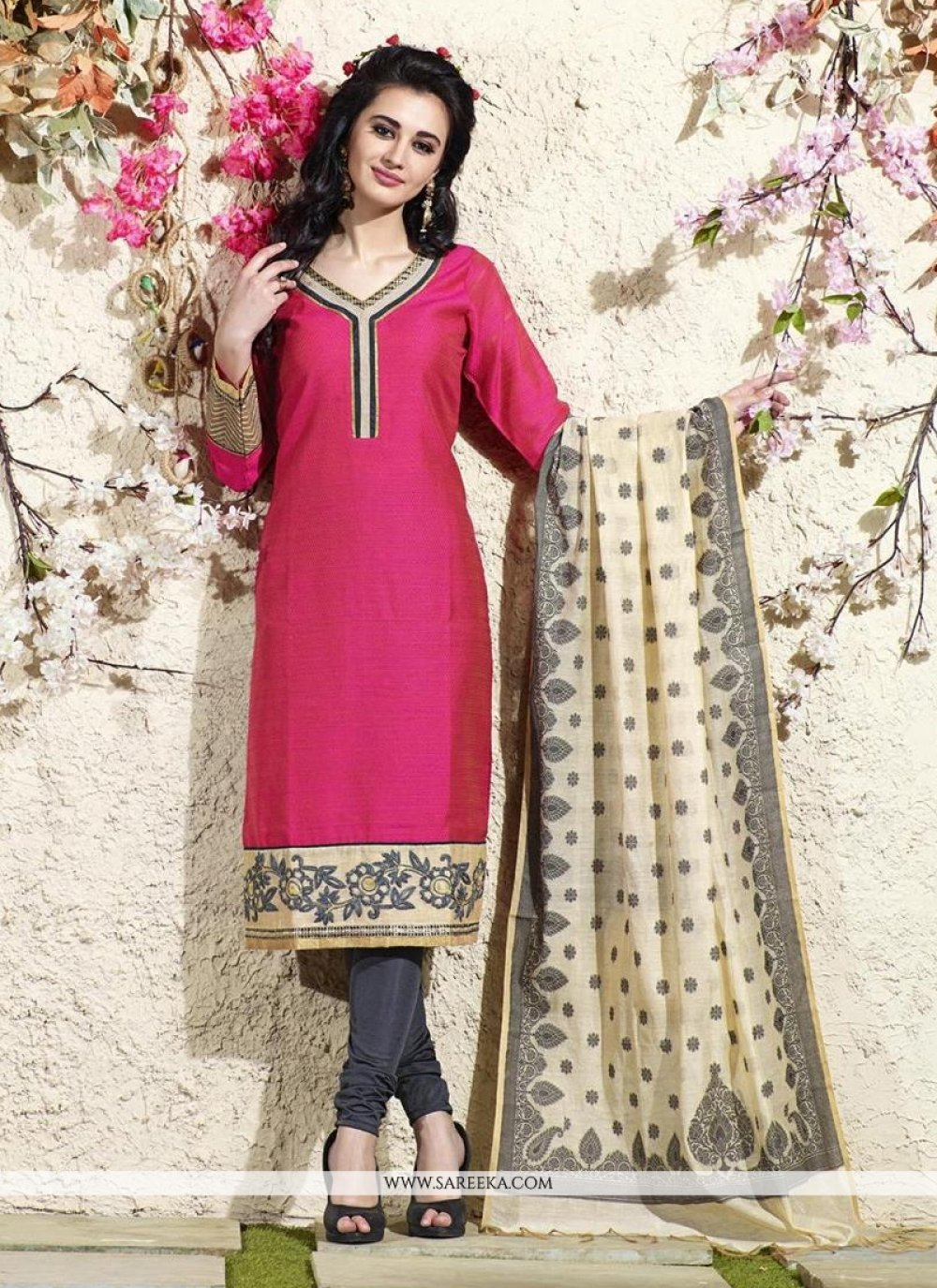 Lace Work Hot Pink Readymade Suit