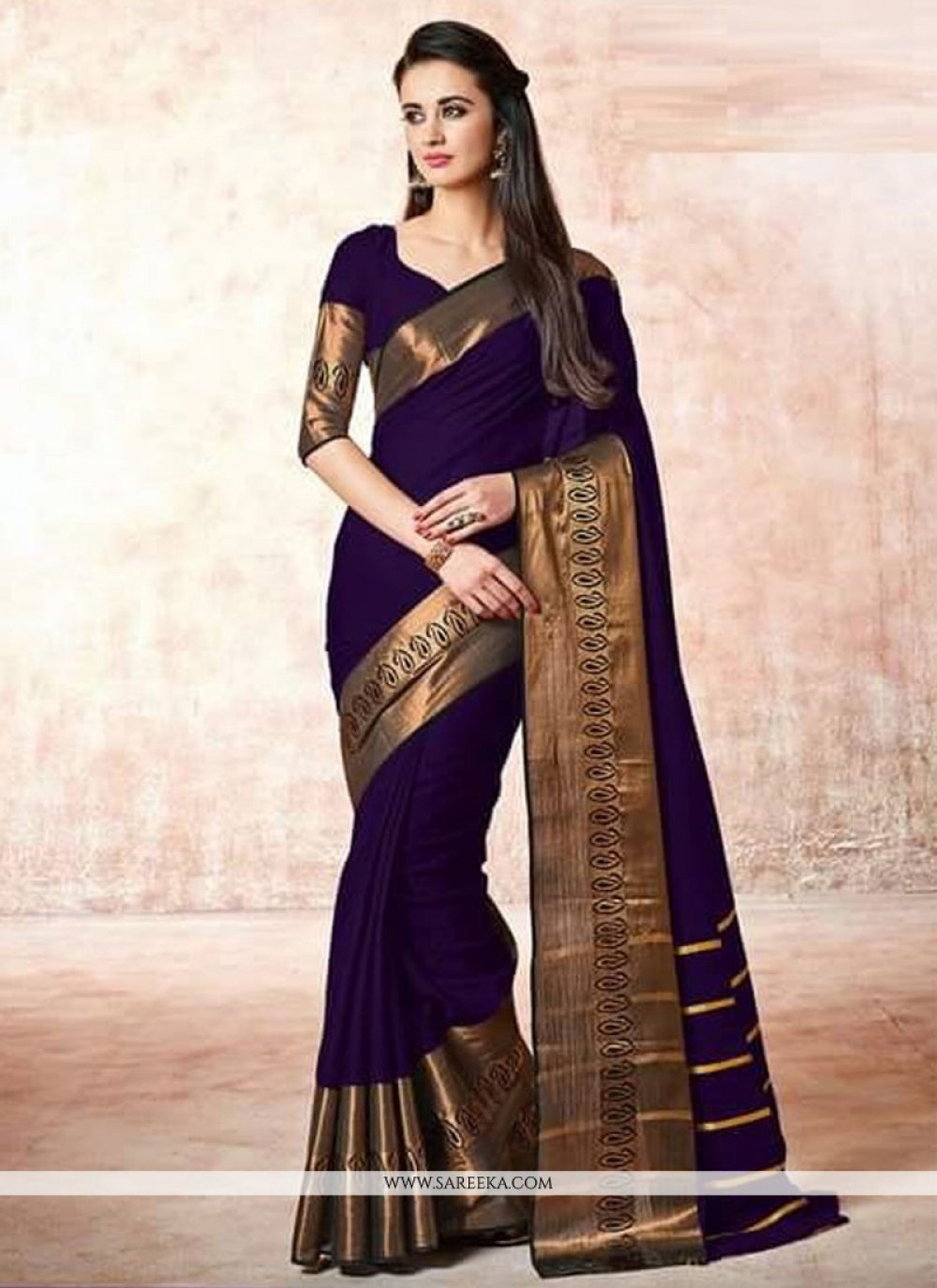 Lace Work Violet Casual Saree