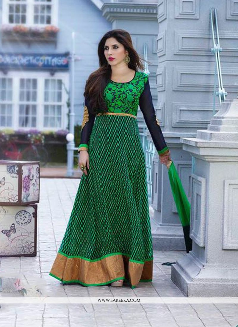 Patch Border Work Green Georgette Anarkali Salwar Kameez