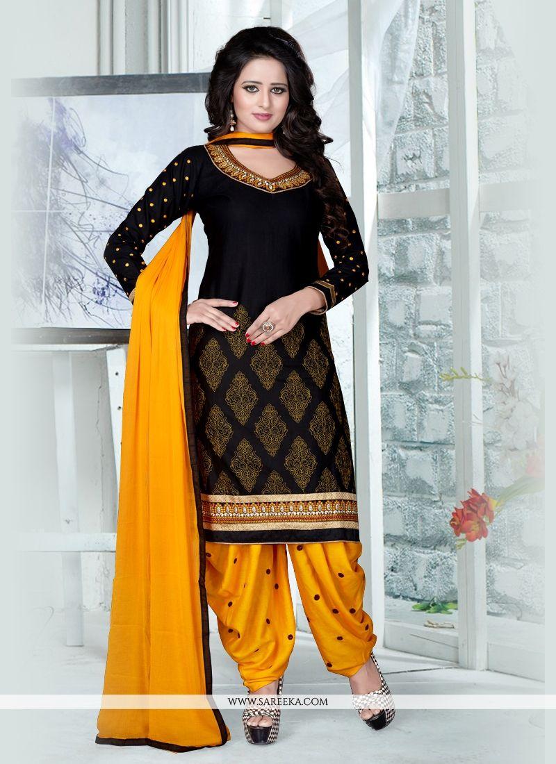 Buy black resham work punjabi suit online new zealand for New design pic