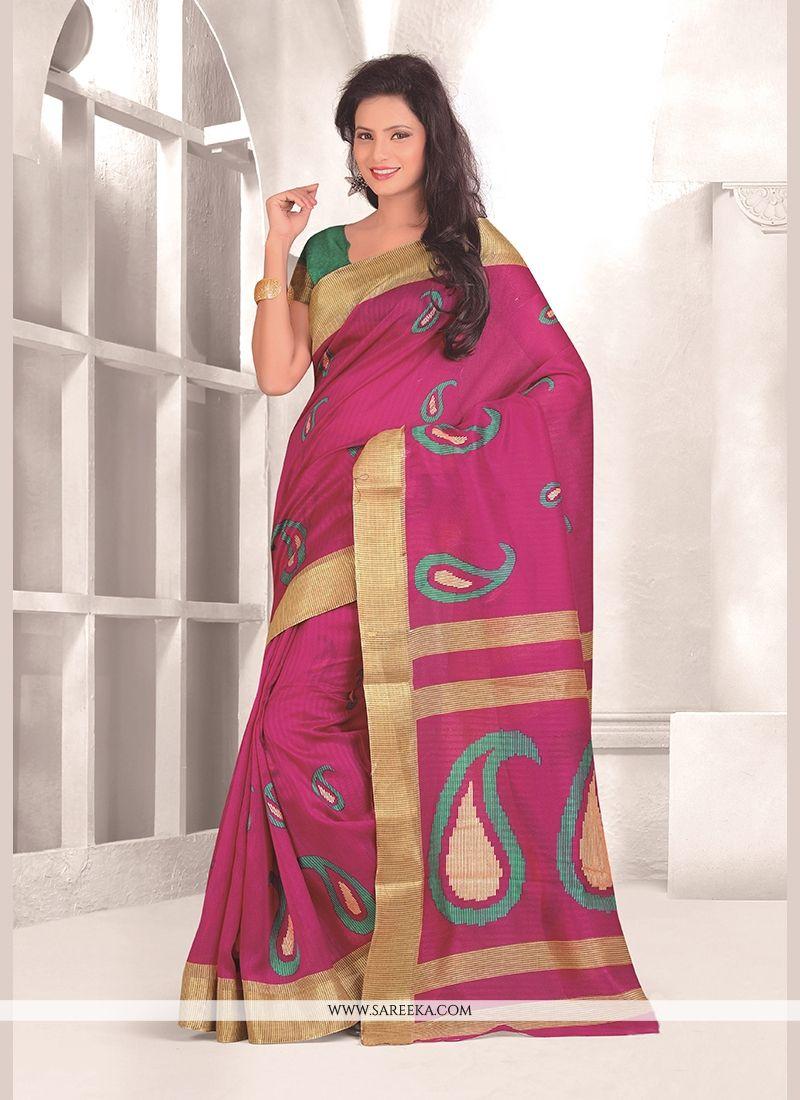Hot Pink Print Work Casual Saree