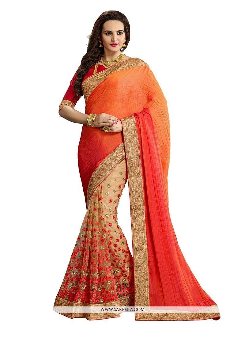Orange Patch Border Work Net Classic Designer Saree