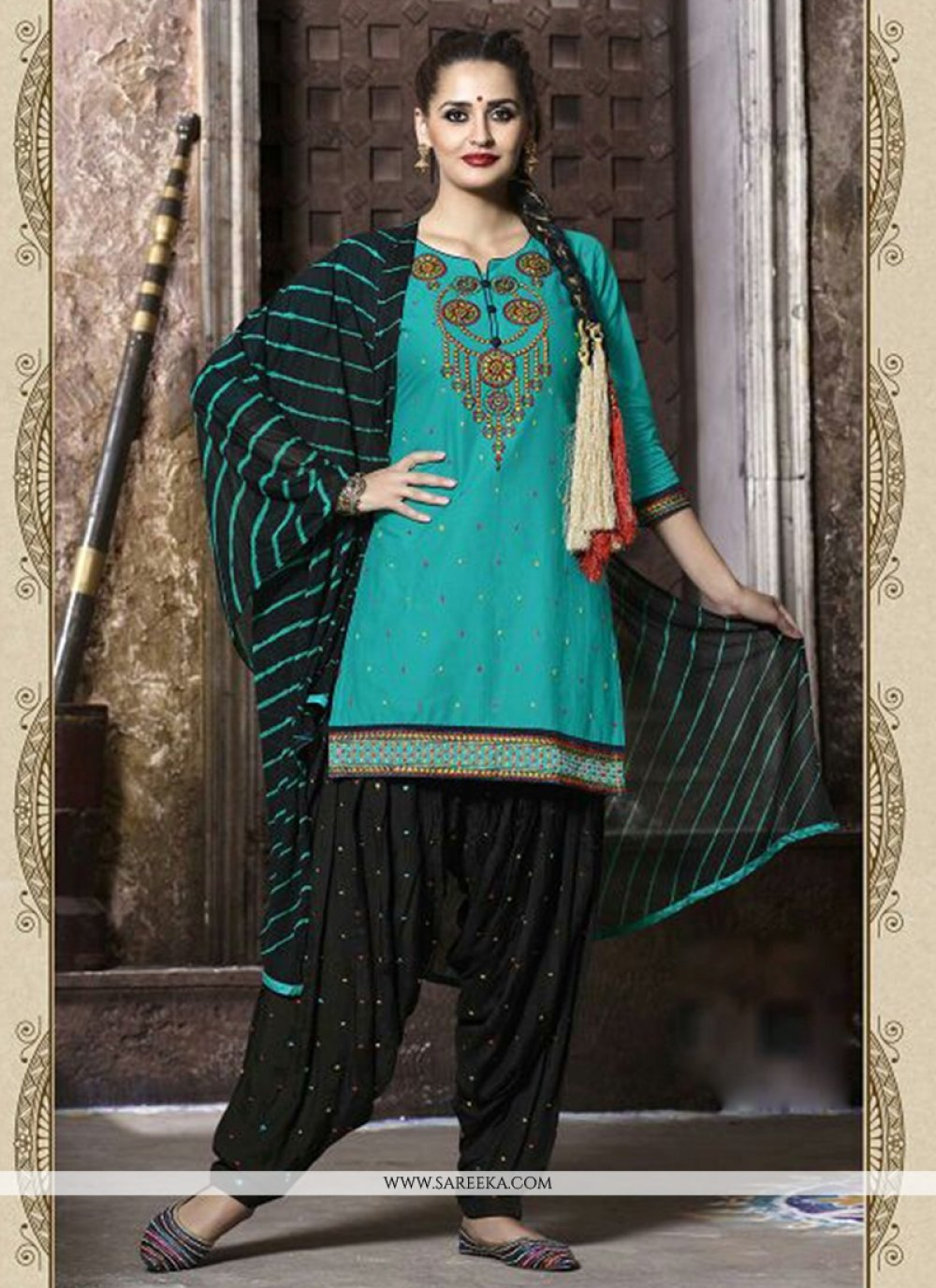 Sea Green Cotton   Punjabi Suit