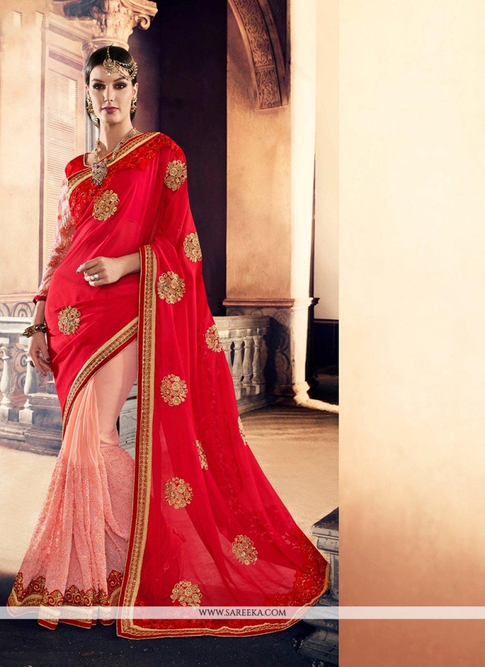 Pink Georgette Designer Traditional Sarees