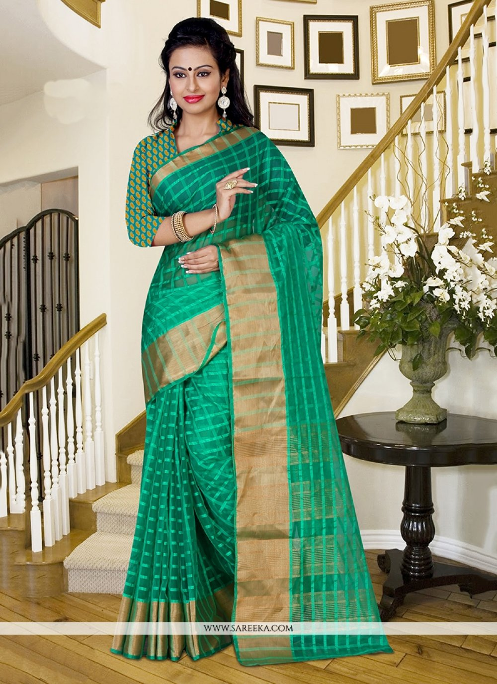 Sea Green Patch Border Work Saree