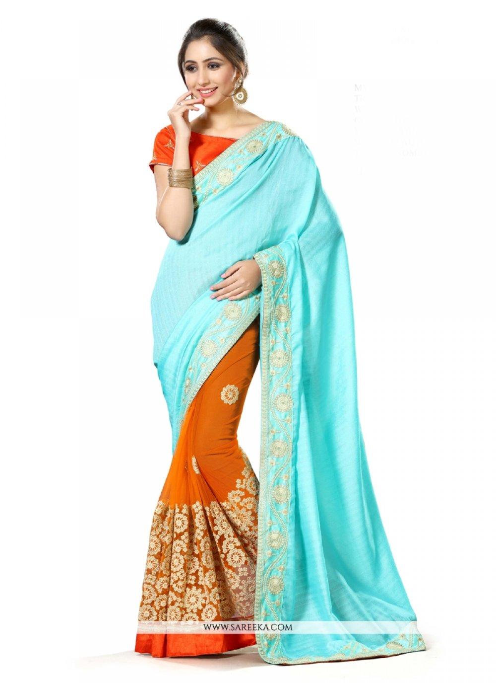 Net Orange Classic Designer Saree