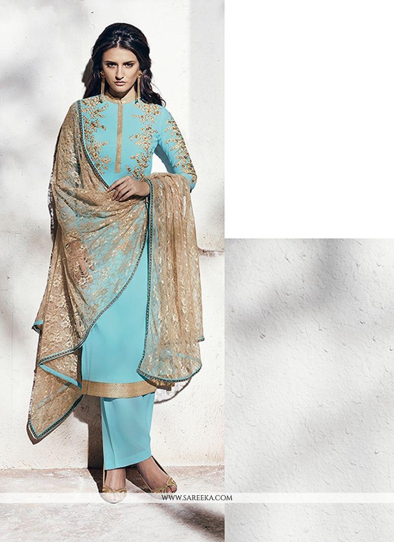 Turquoise Georgette Designer Suit