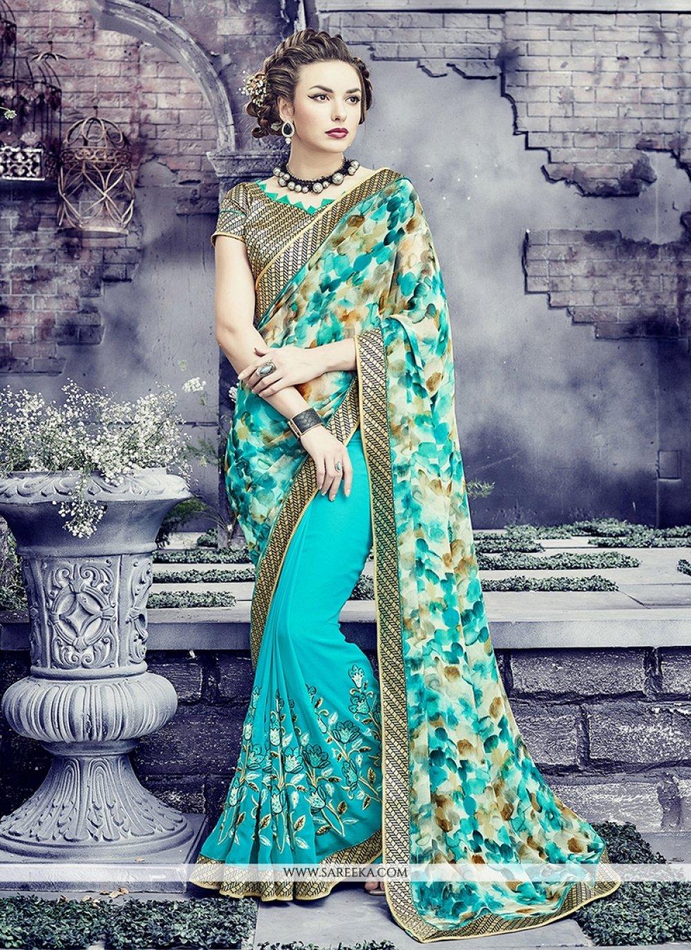 Turquoise Print Work Georgette Designer Saree