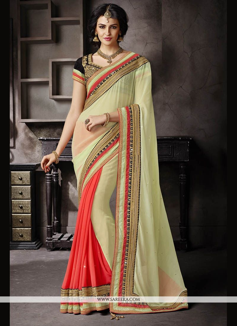 Faux Chiffon Green Patch Border Work Classic Designer Saree