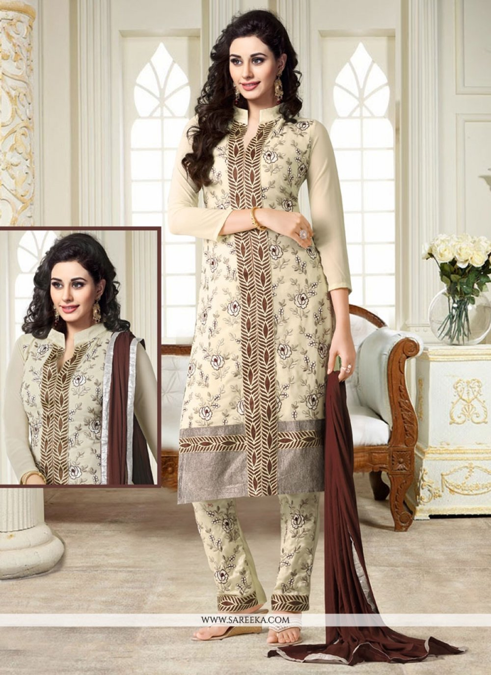 Georgette Cream Churidar Designer Suit