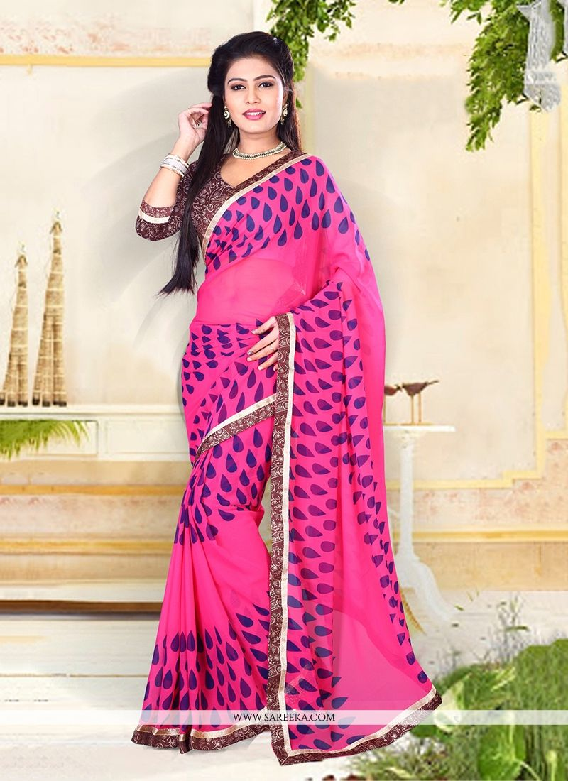 Georgette Hot Pink Designer Saree