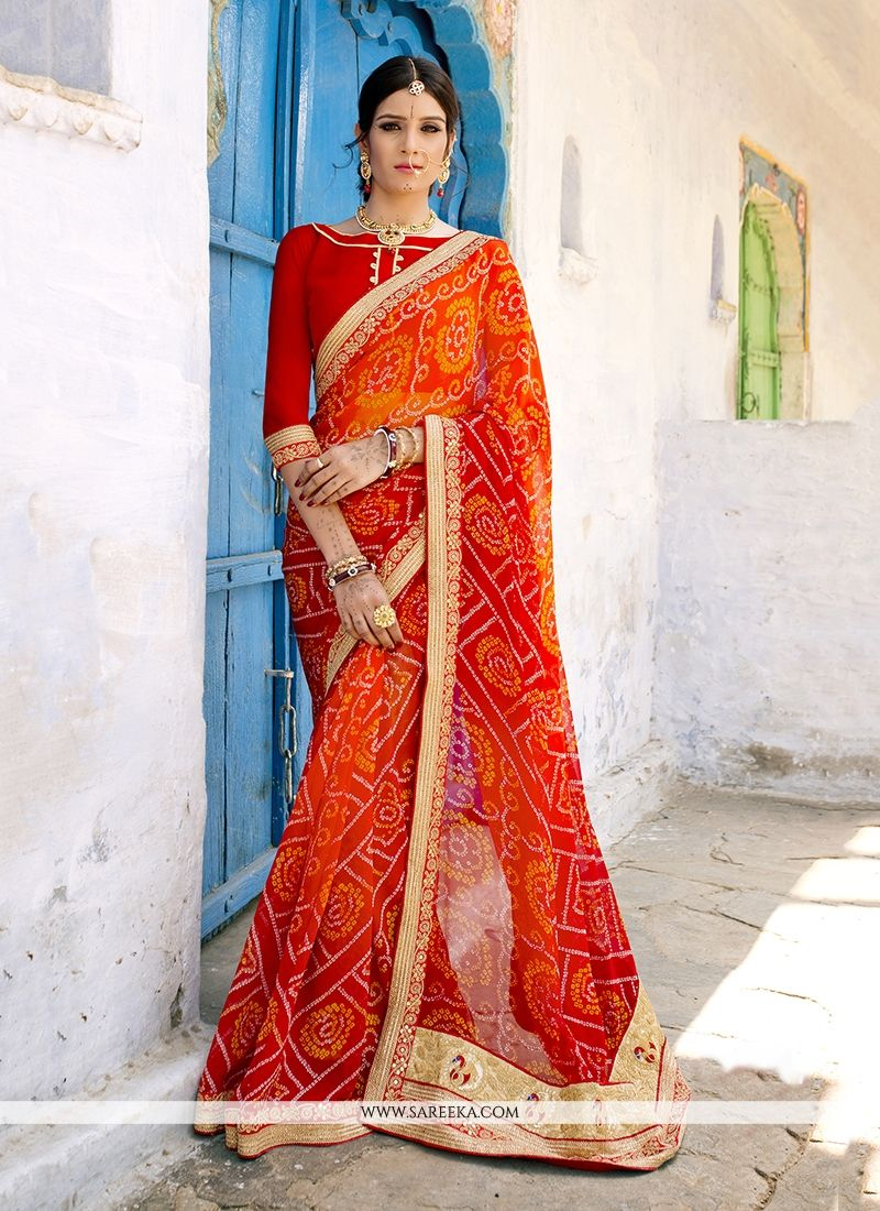 Georgette Orange and Red Patch Border Work Designer Saree