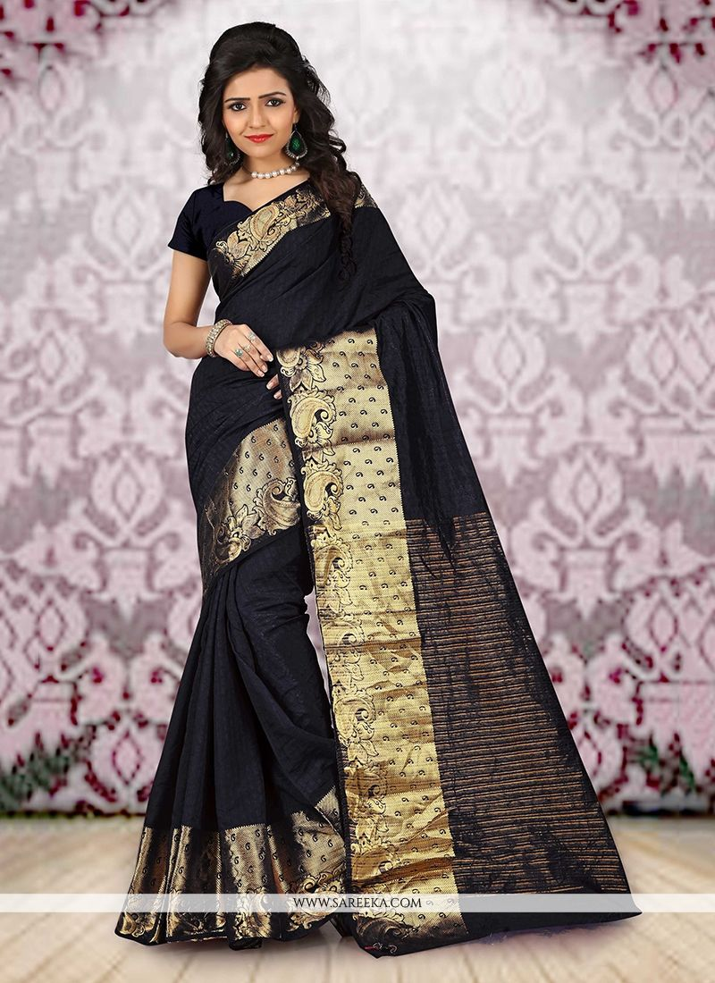 Patch Border Work Black Cotton   Casual Saree