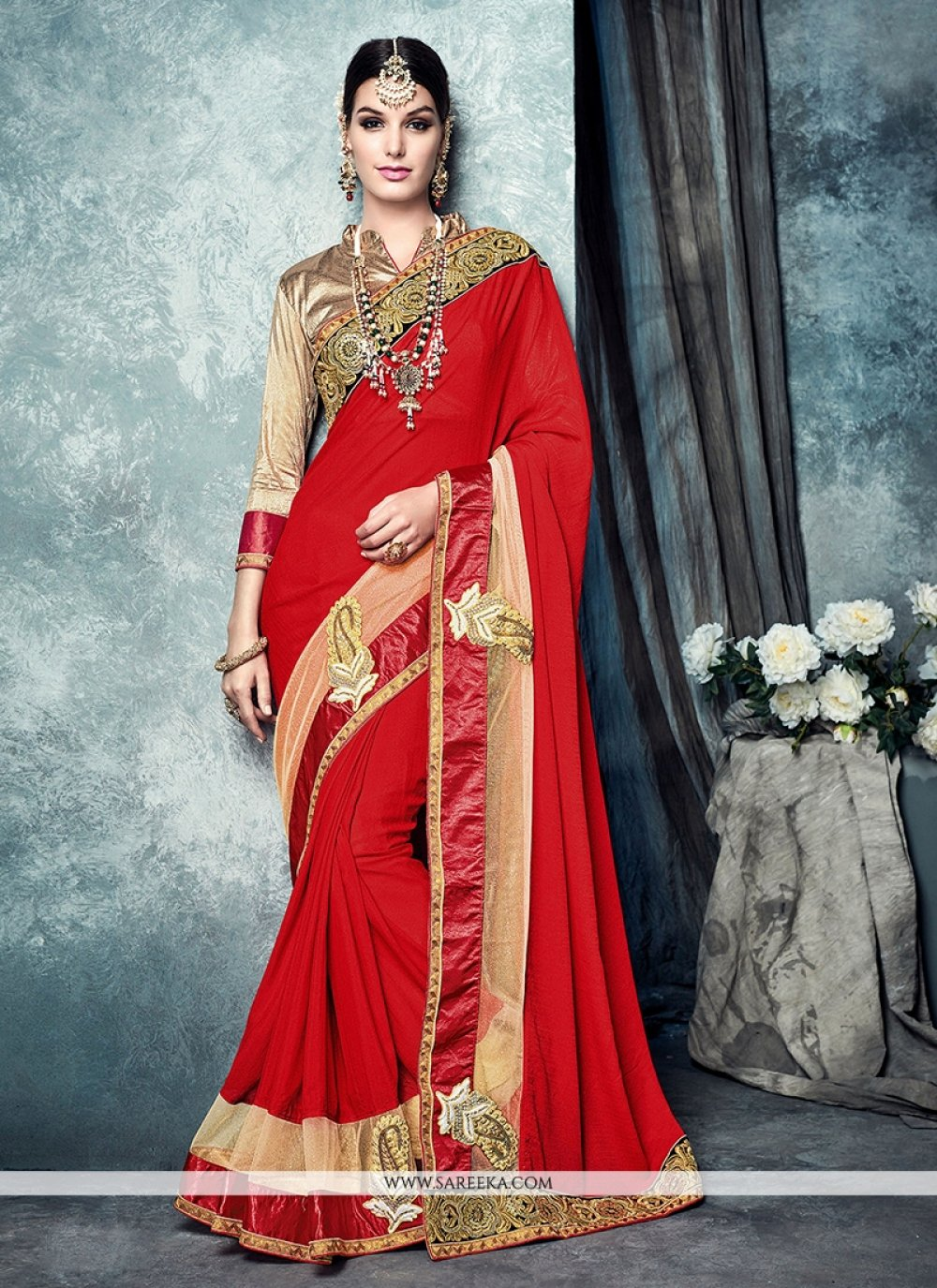 Red Patch Border Work Faux Chiffon Traditional  Saree
