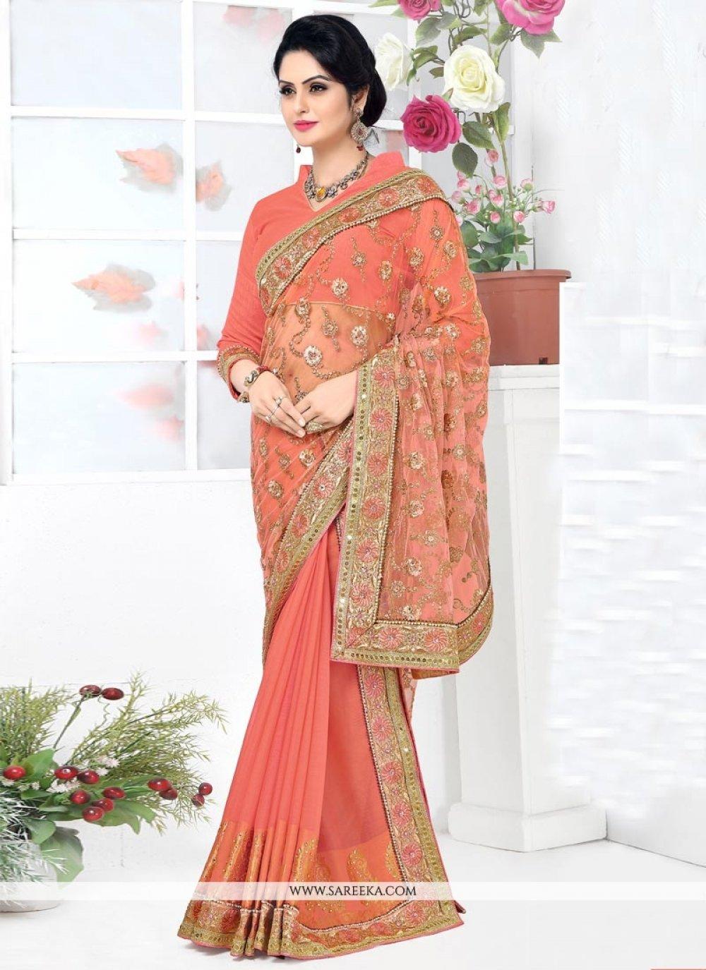Banarasi Silk Orange Patch Border Work Lehenga Saree