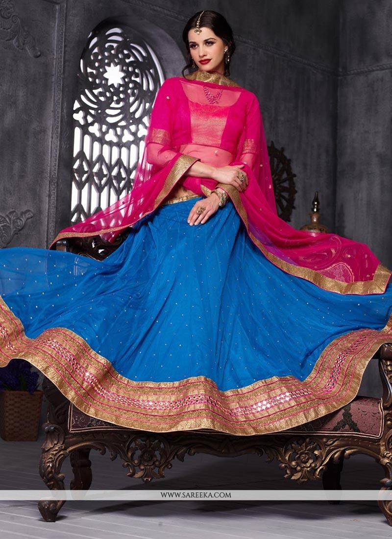 Patch Border Work Net A Line Lehenga Choli