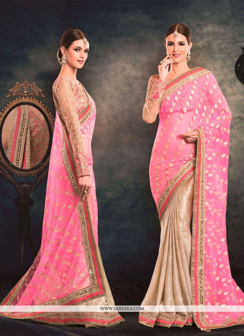 Pink Net Classic Designer Saree