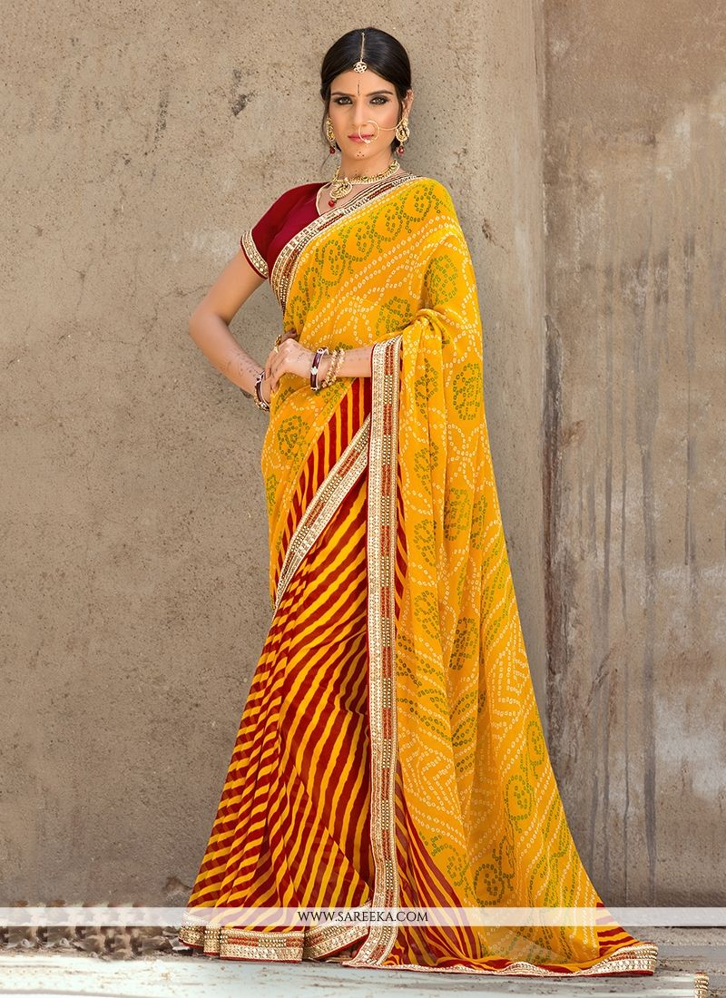 Print Work Georgette Designer Saree