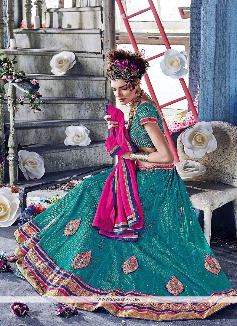 Vehemently Sea Green A Line Lehenga Choli