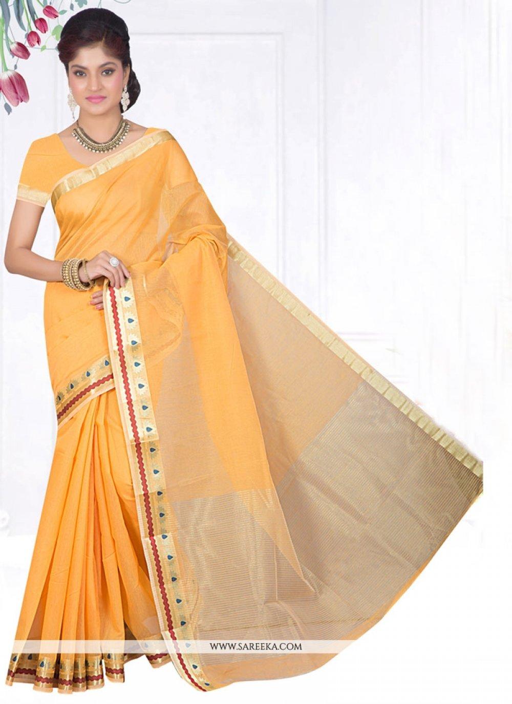 Cotton Silk Yellow Casual Saree