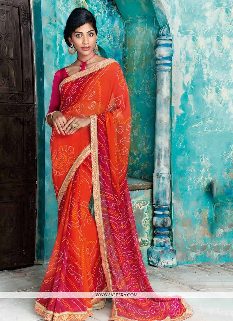 Faux Chiffon Orange Print Work Designer Saree