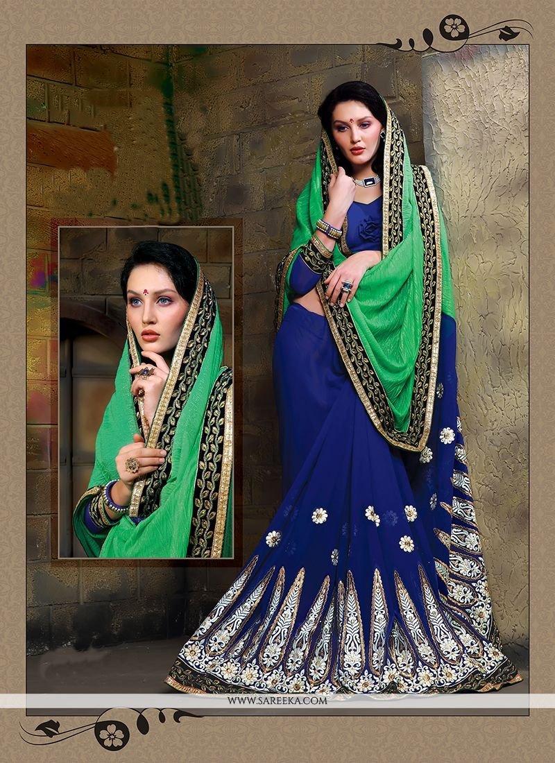 Georgette Navy Blue Designer Saree