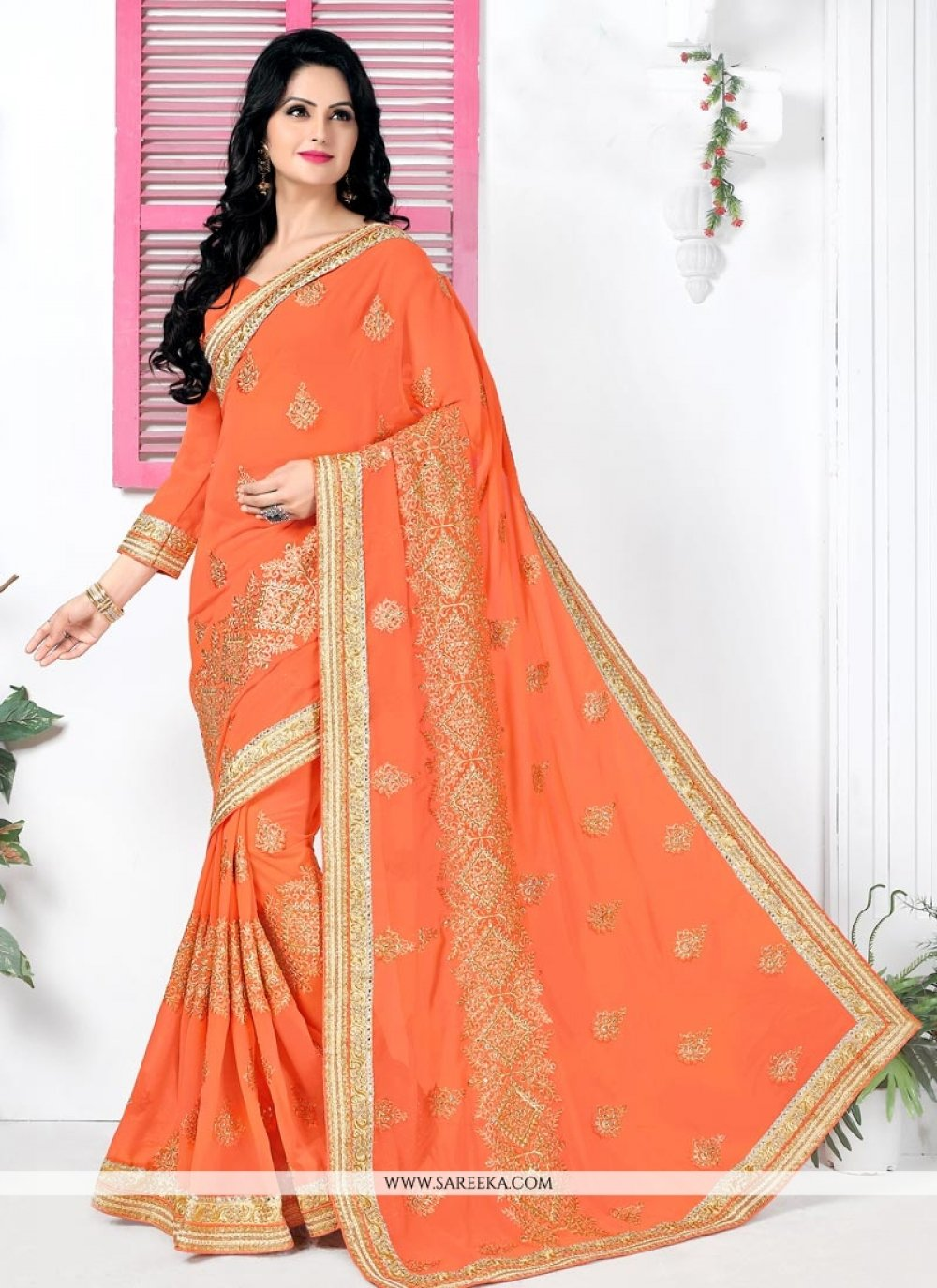 Georgette Orange Classic Designer Saree