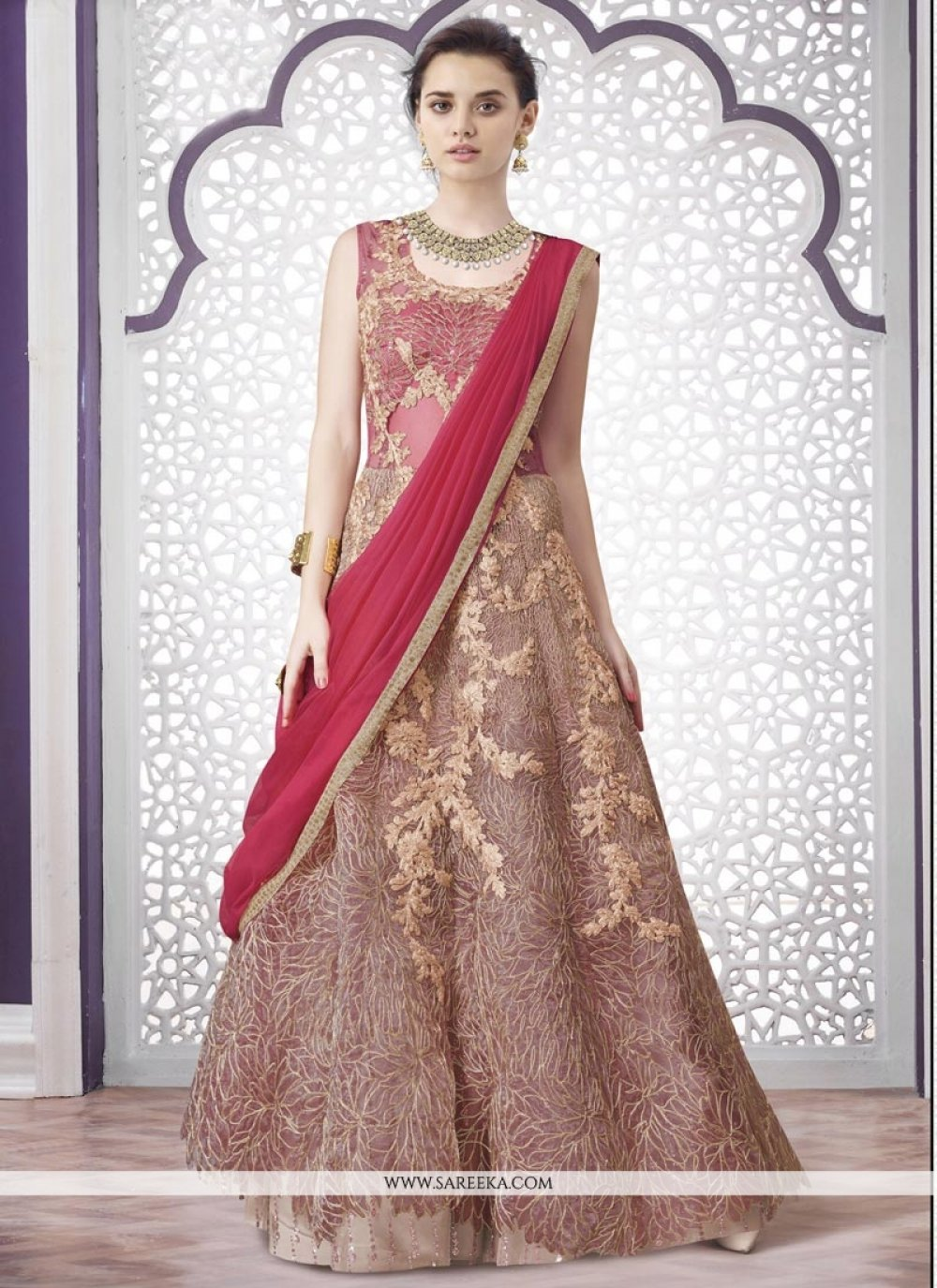 Net Pink Embroidered Work A Line Lehenga Choli